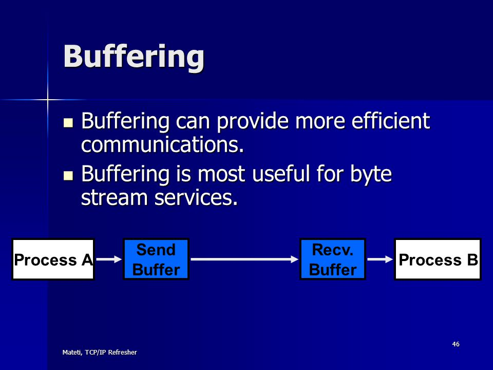Buffering Buffering can provide more efficient communications.