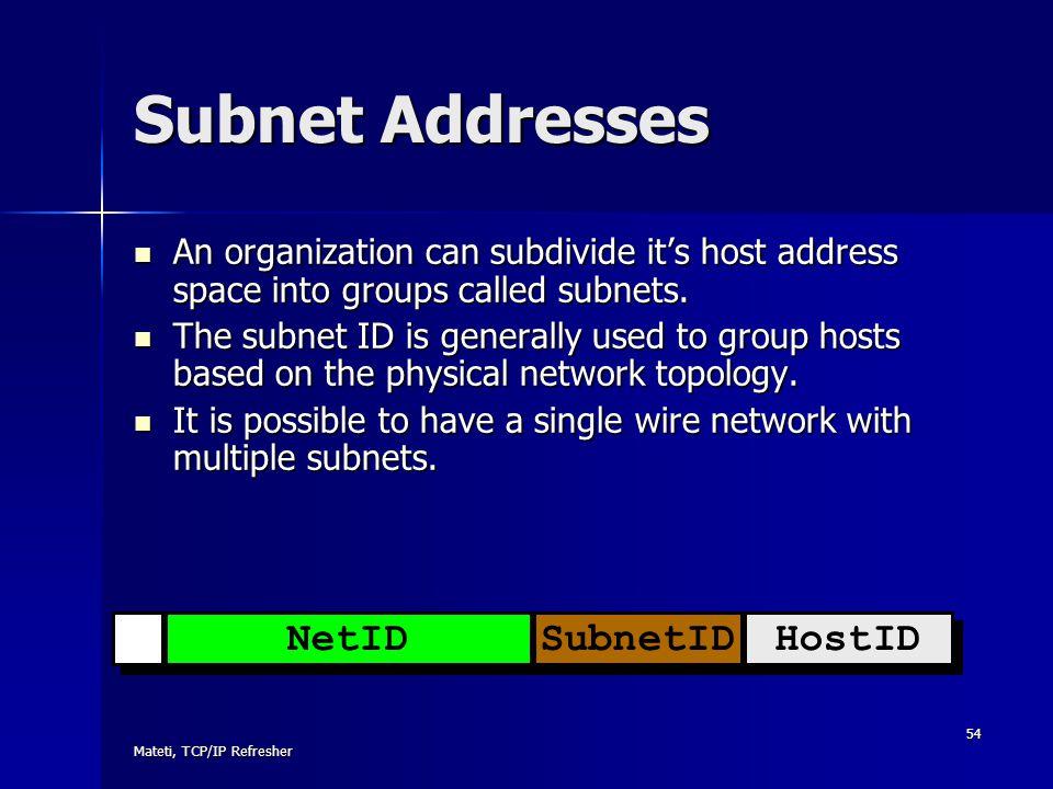 Subnet Addresses NetID SubnetID HostID