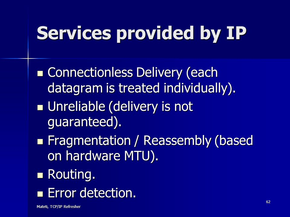 Services provided by IP