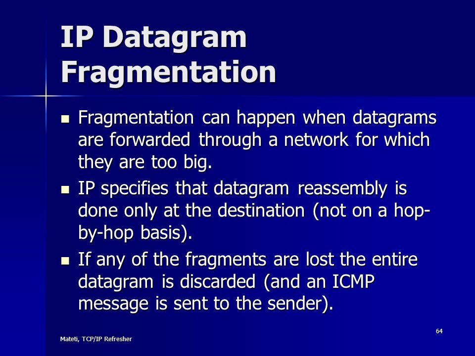 IP Datagram Fragmentation