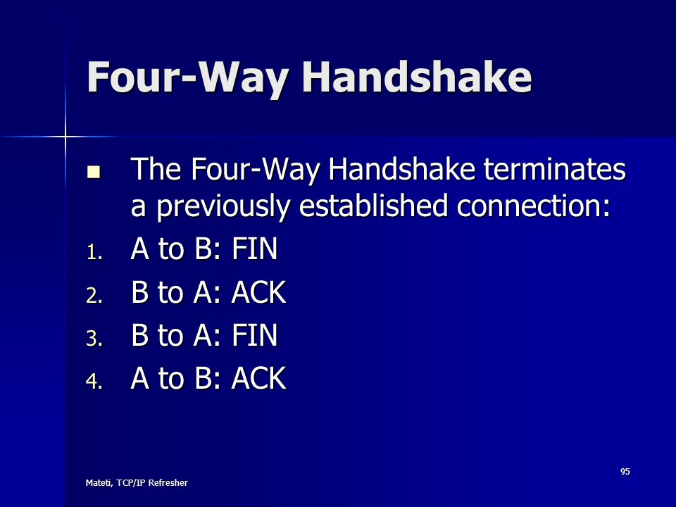 Four-Way Handshake The Four-Way Handshake terminates a previously established connection: A to B: FIN.