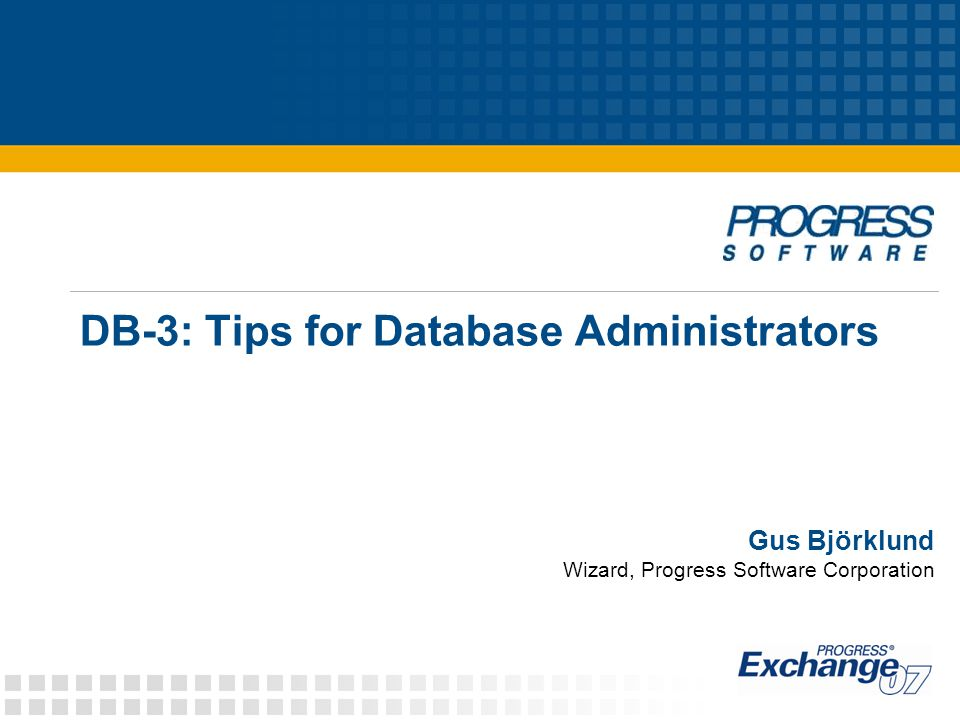 DB-3: Tips for Database Administrators