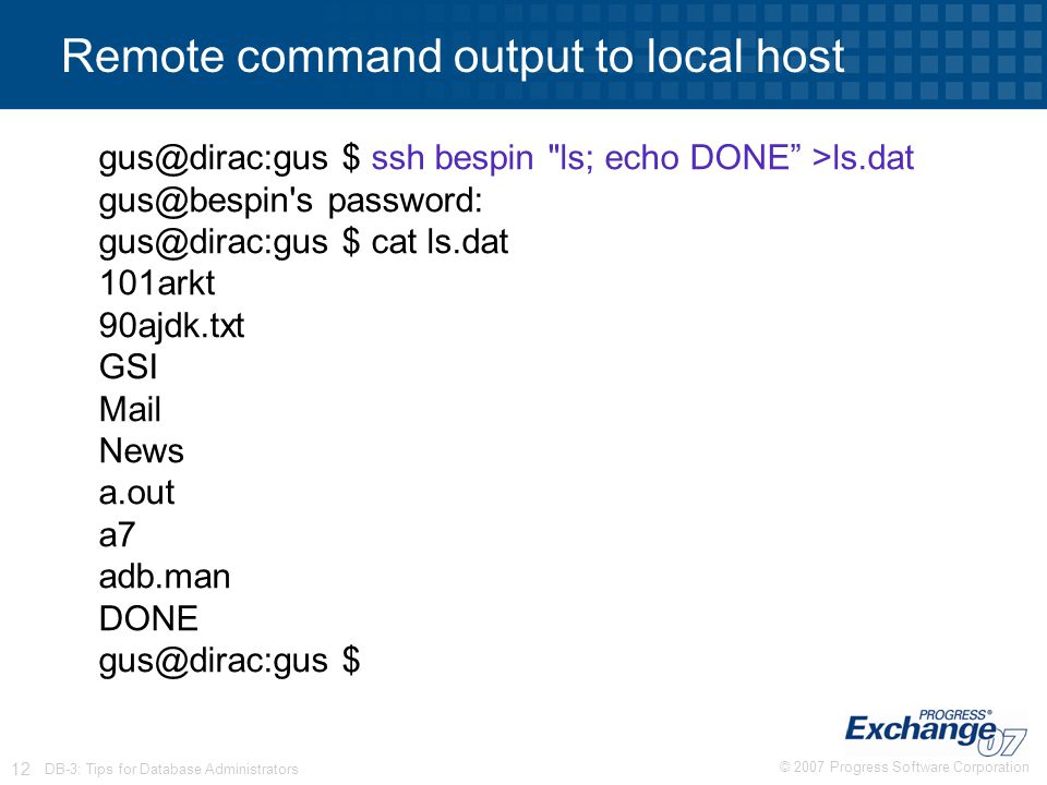 Remote command output to local host