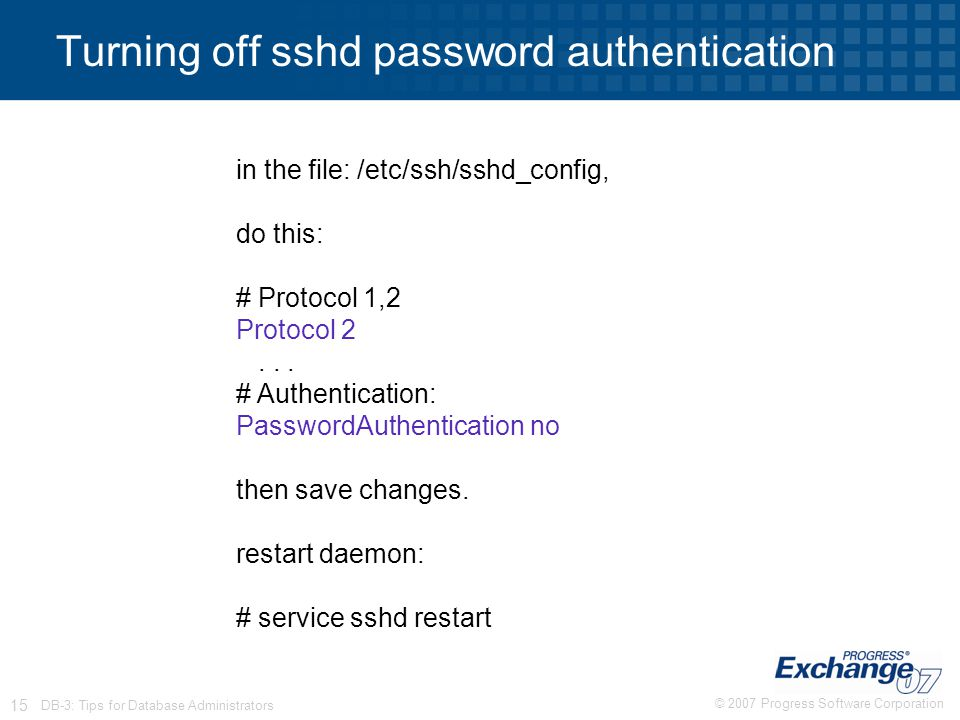 Turning off sshd password authentication