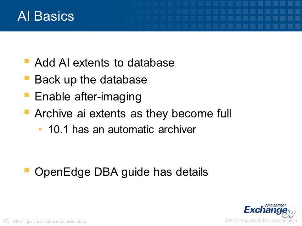 AI Basics Add AI extents to database Back up the database