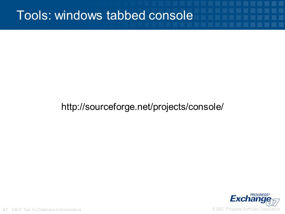 Tools: windows tabbed console