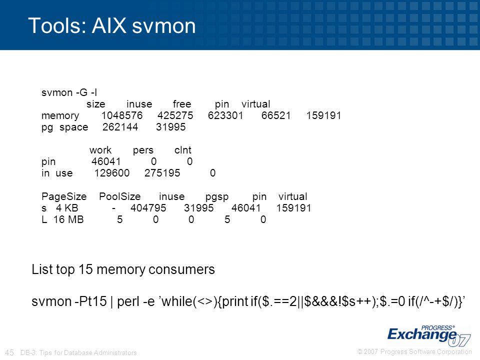 Tools: AIX svmon List top 15 memory consumers