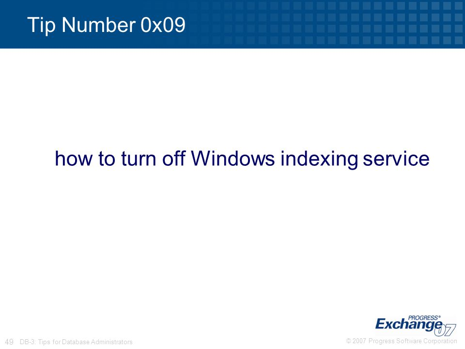 how to turn off Windows indexing service