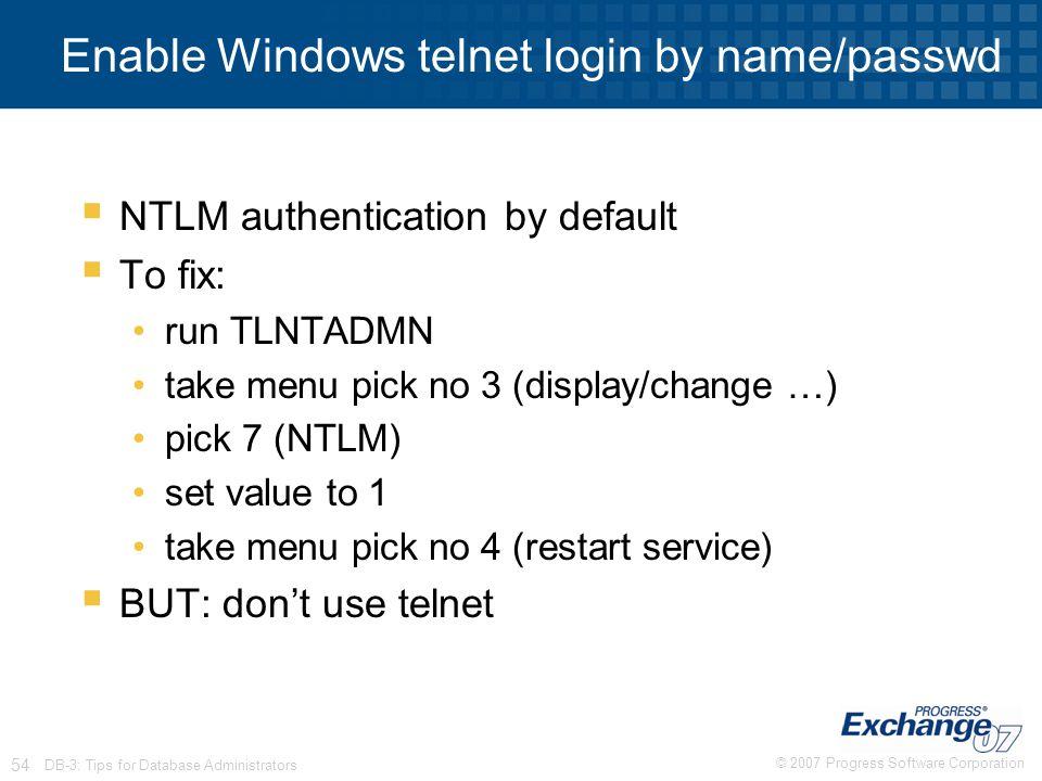 Enable Windows telnet login by name/passwd