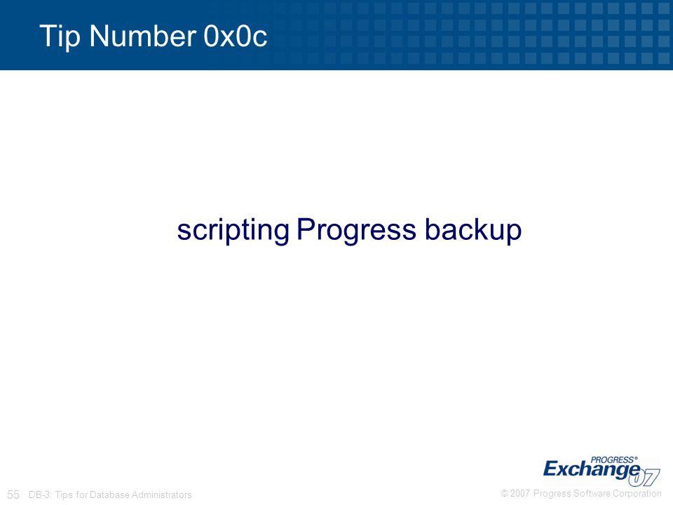 scripting Progress backup