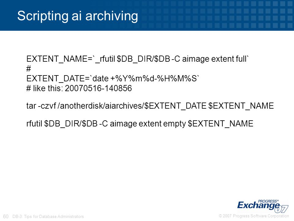 Scripting ai archiving