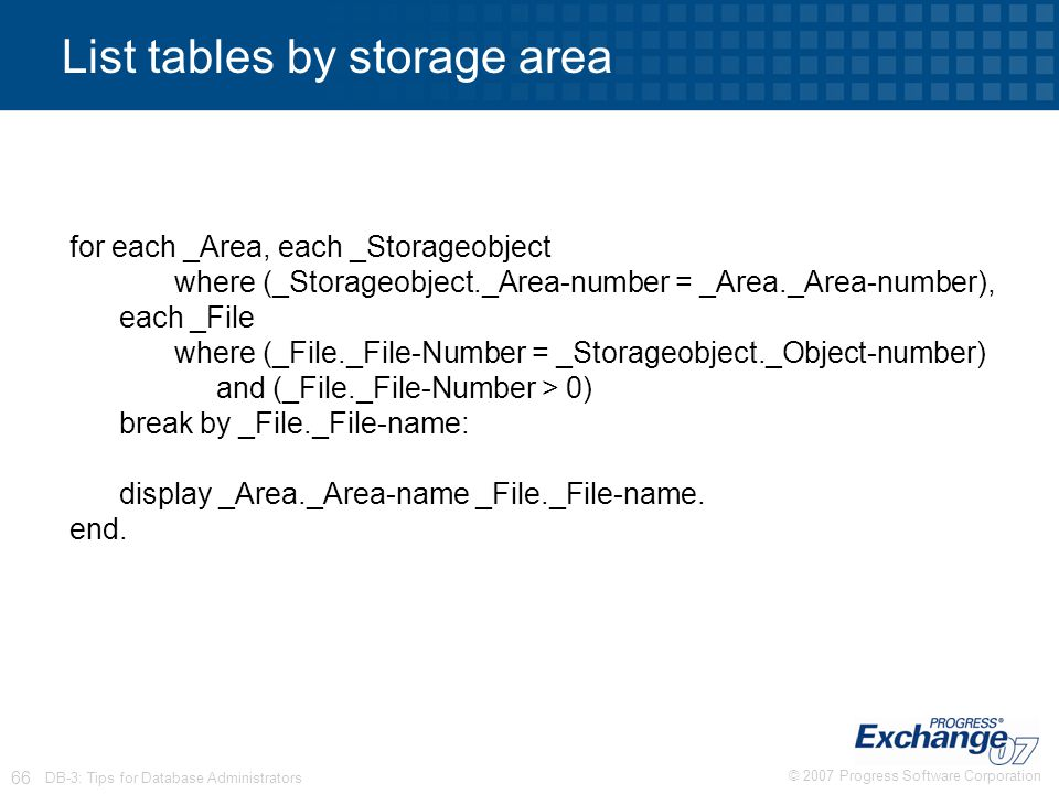 List tables by storage area