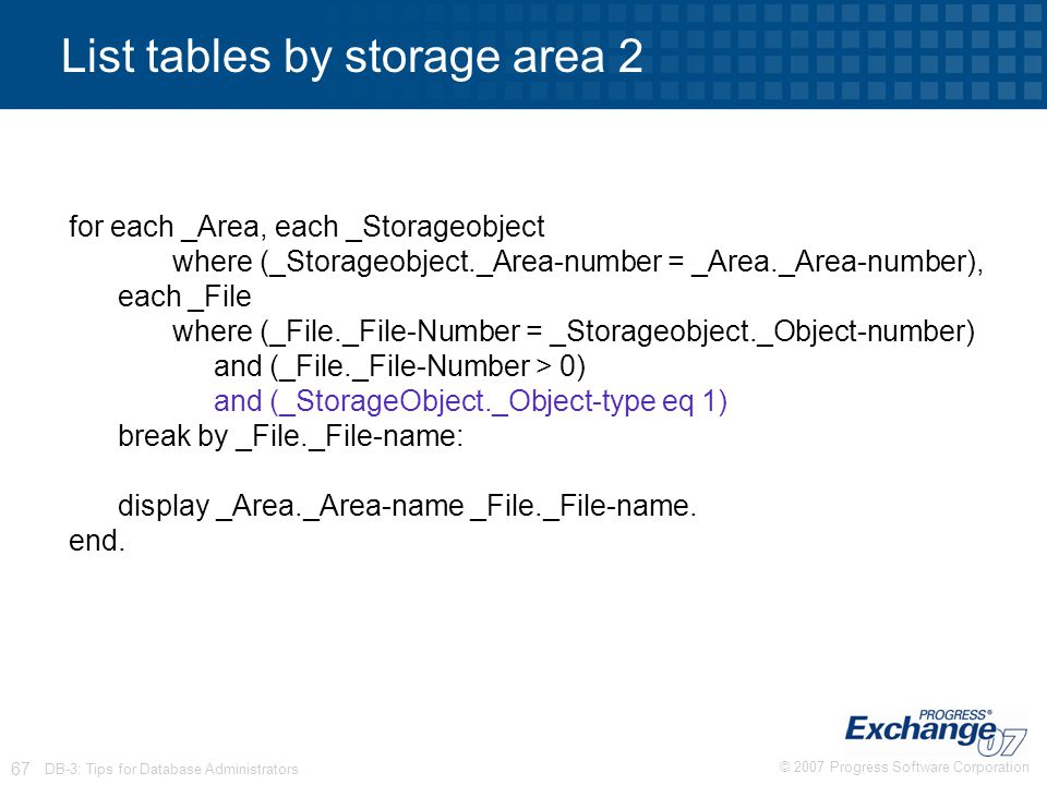 List tables by storage area 2