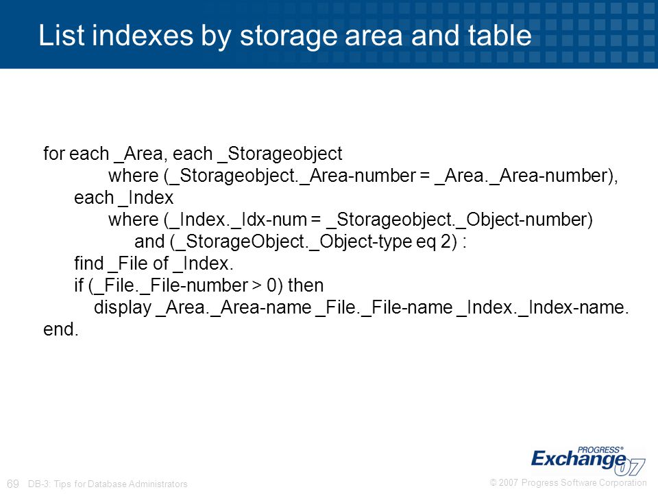 List indexes by storage area and table