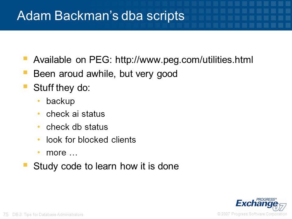Adam Backman's dba scripts