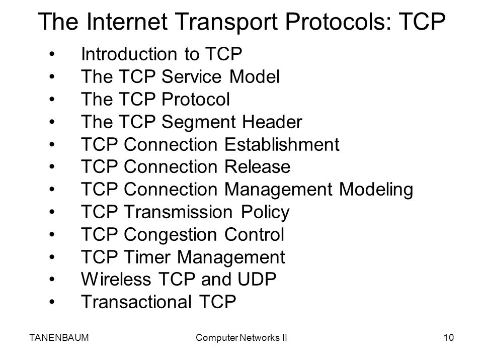 The Internet Transport Protocols: TCP