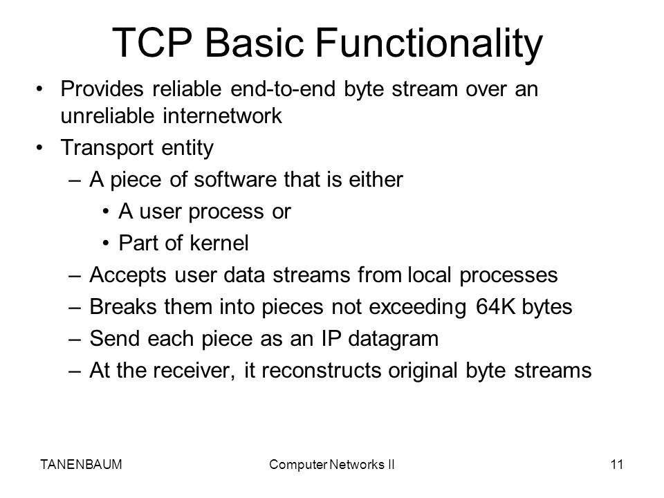 TCP Basic Functionality