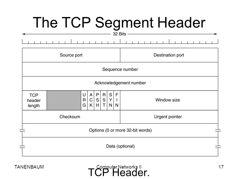 The TCP Segment Header TANENBAUM Computer Networks II TCP Header.