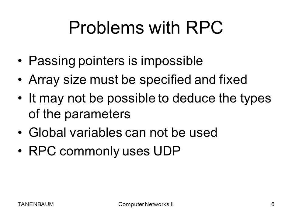 Problems with RPC Passing pointers is impossible