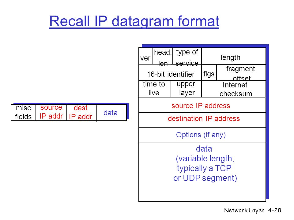 Recall IP datagram format