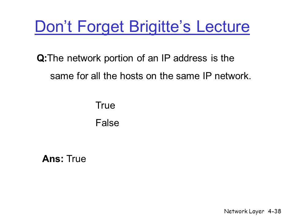 Don't Forget Brigitte's Lecture