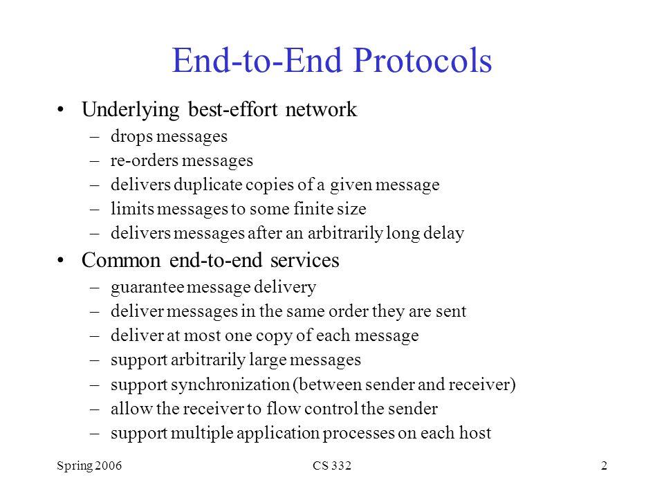 End-to-End Protocols Underlying best-effort network