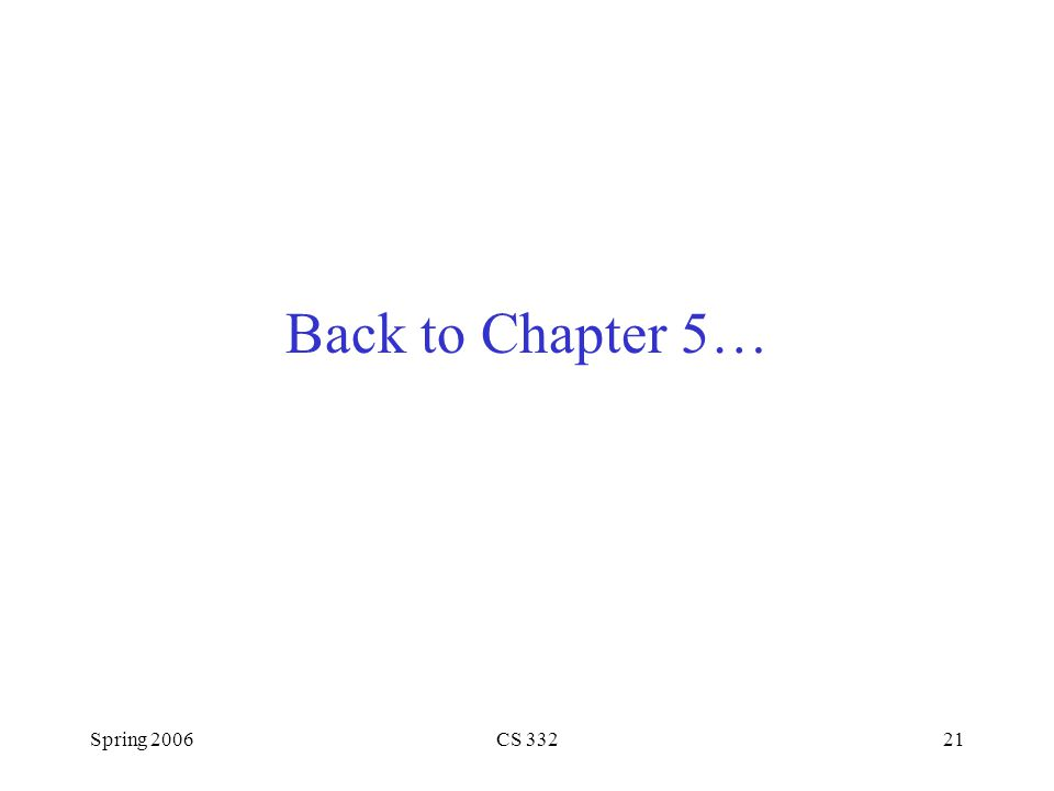Back to Chapter 5… Spring 2006 CS 332