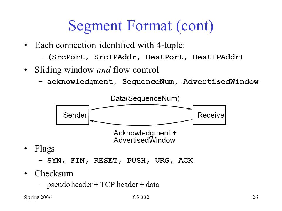 Segment Format (cont) Each connection identified with 4-tuple: