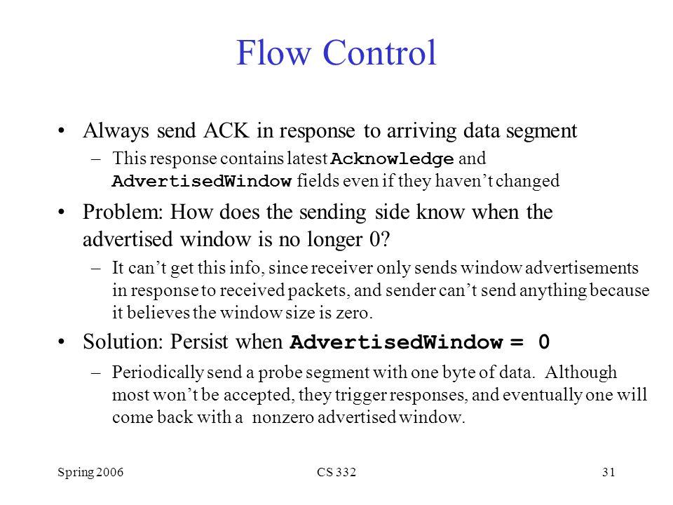 Flow Control Always send ACK in response to arriving data segment