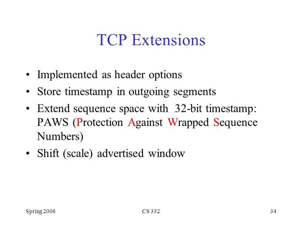TCP Extensions Implemented as header options
