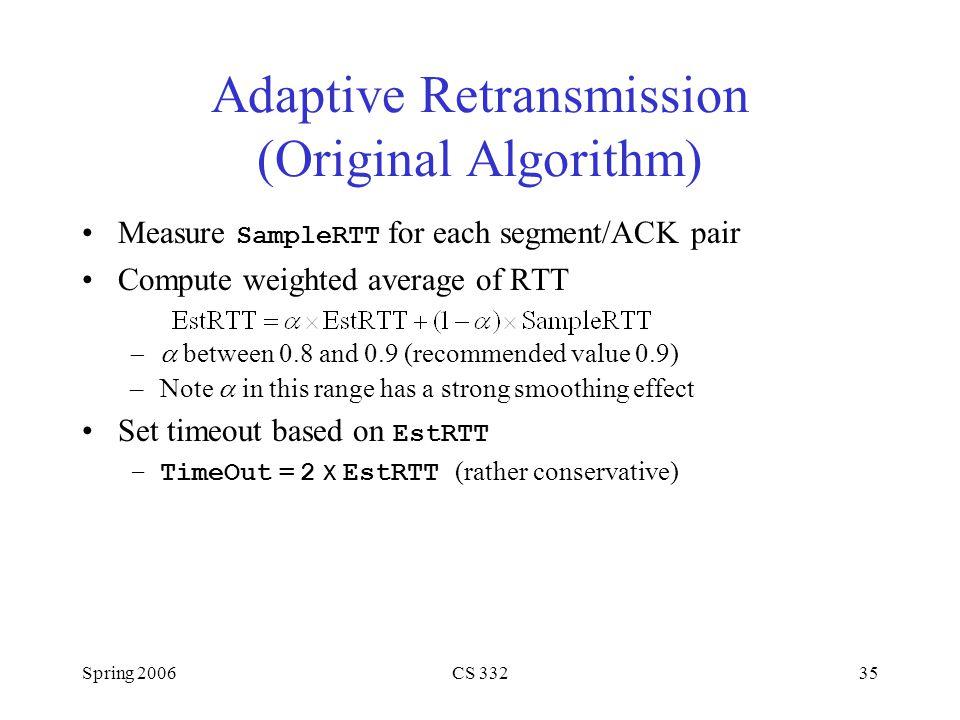 Adaptive Retransmission (Original Algorithm)