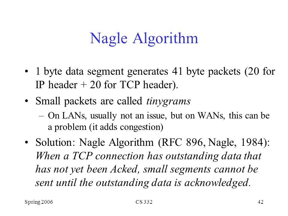 Nagle Algorithm 1 byte data segment generates 41 byte packets (20 for IP header + 20 for TCP header).