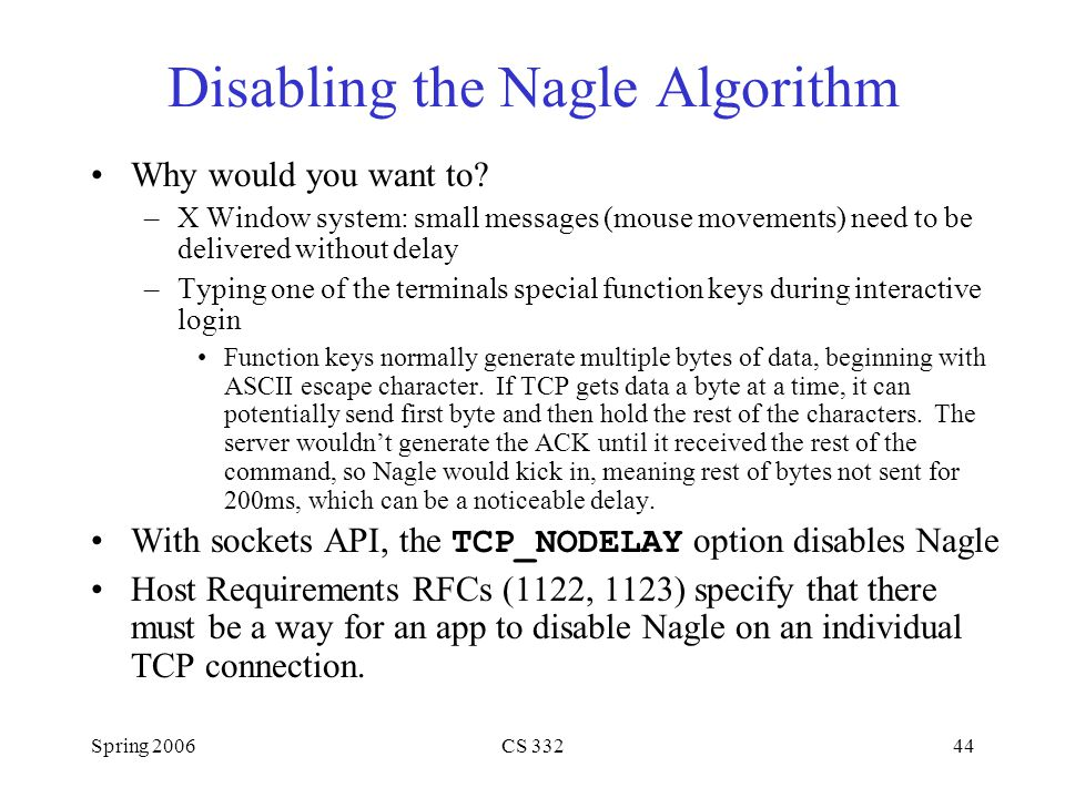 Disabling the Nagle Algorithm