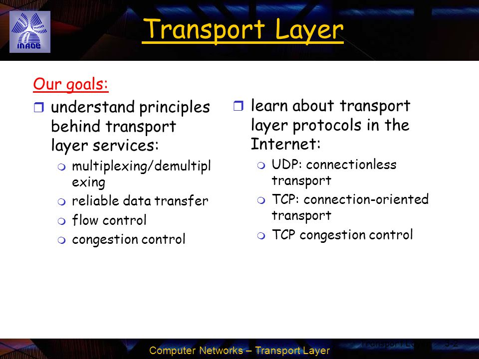 Transport Layer Our goals: