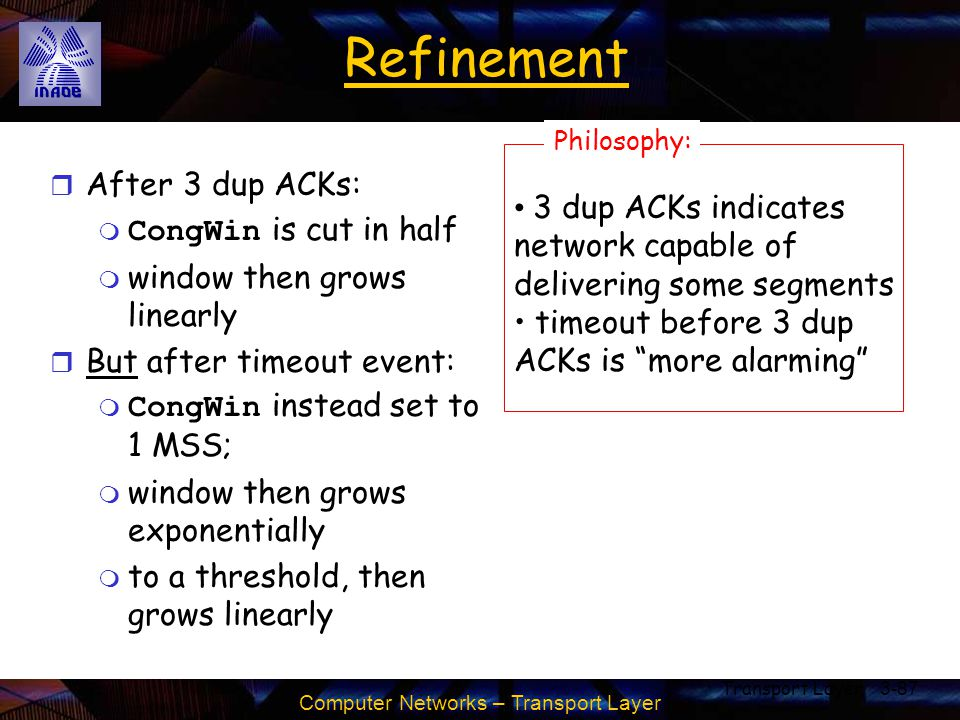 Refinement After 3 dup ACKs: