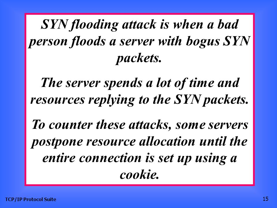 SYN flooding attack is when a bad person floods a server with bogus SYN packets.
