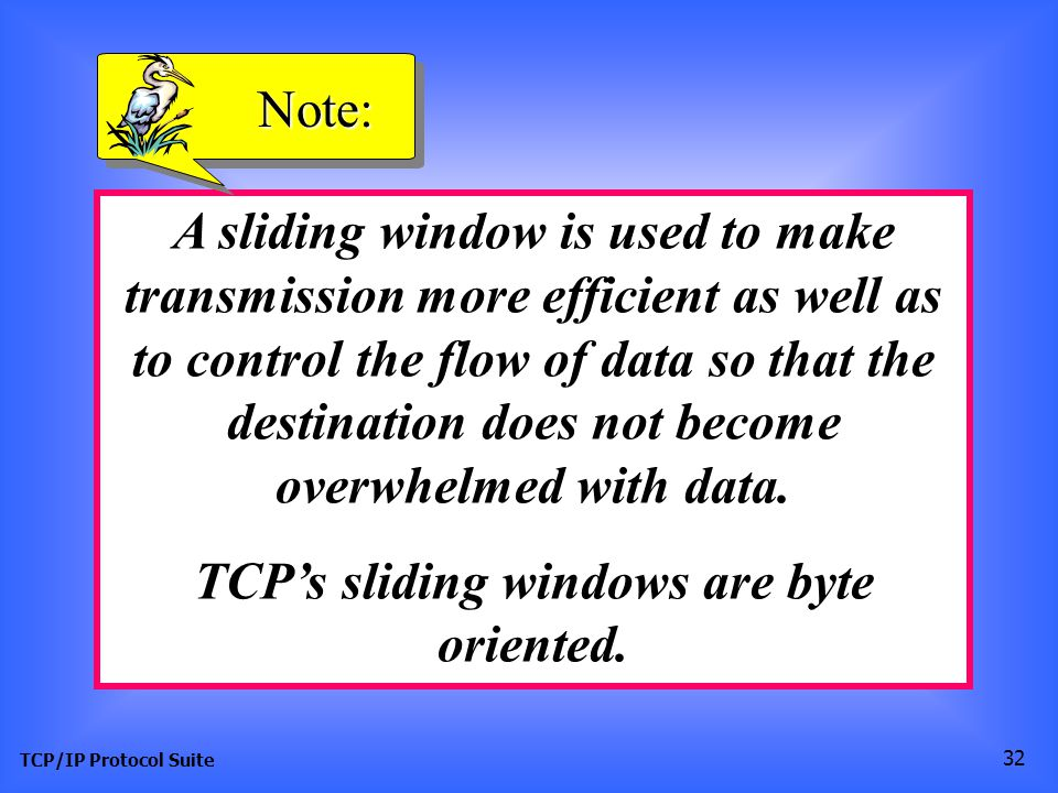 TCP's sliding windows are byte oriented.