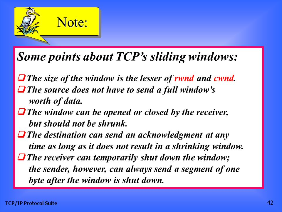 Note: Some points about TCP's sliding windows: