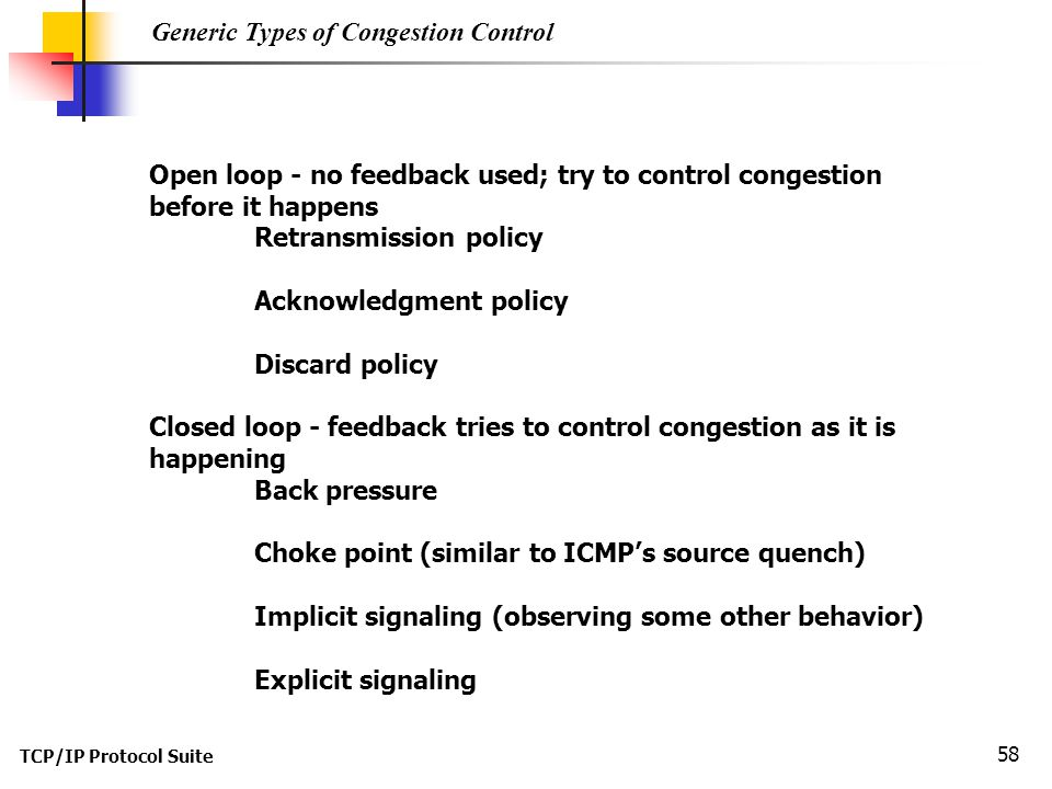 Generic Types of Congestion Control