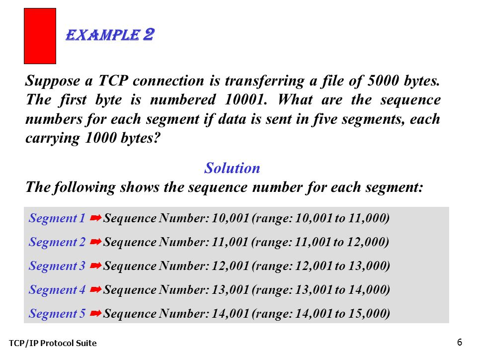 Solution The following shows the sequence number for each segment: