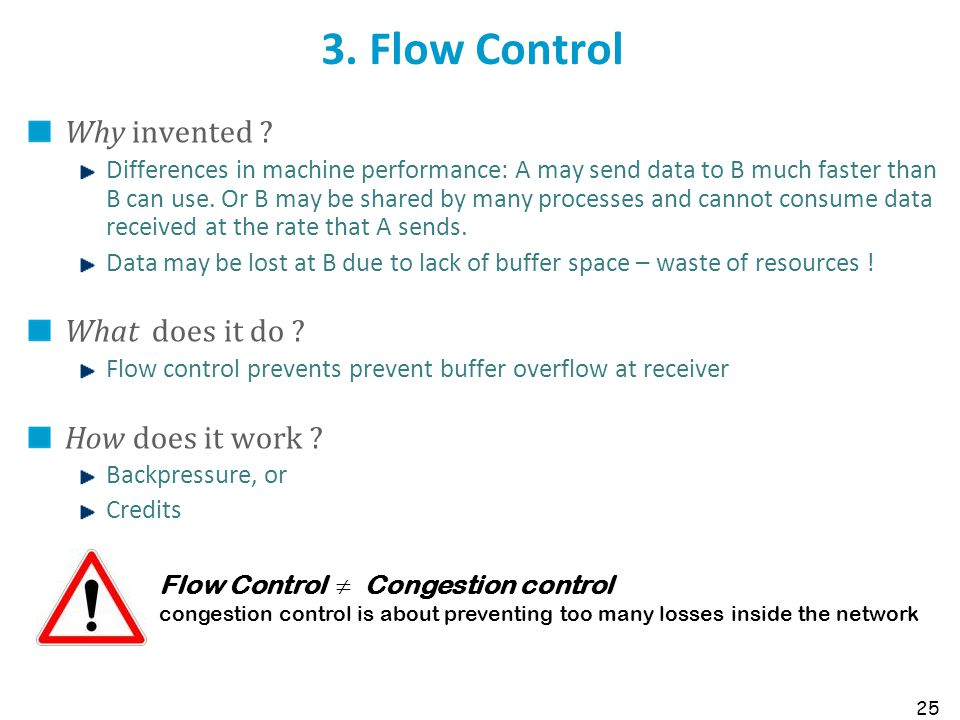 3. Flow Control Why invented What does it do How does it work