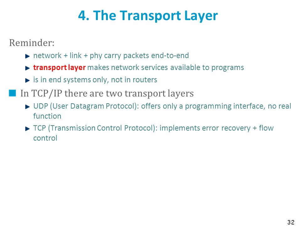 4. The Transport Layer Reminder: