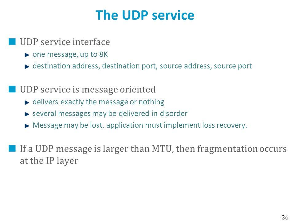 The UDP service UDP service interface UDP service is message oriented