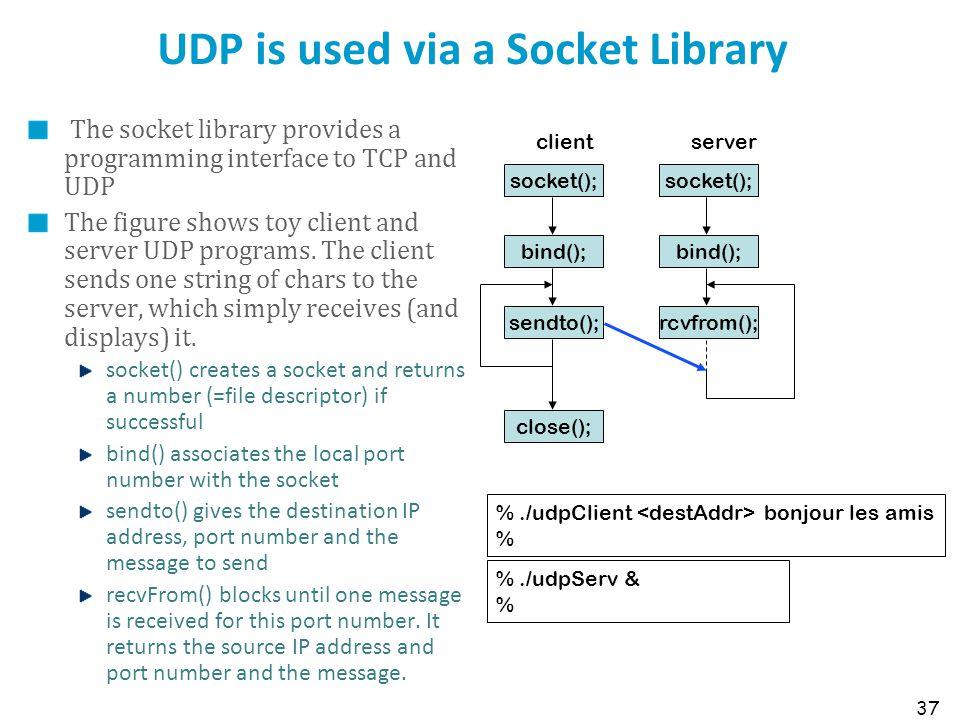 UDP is used via a Socket Library
