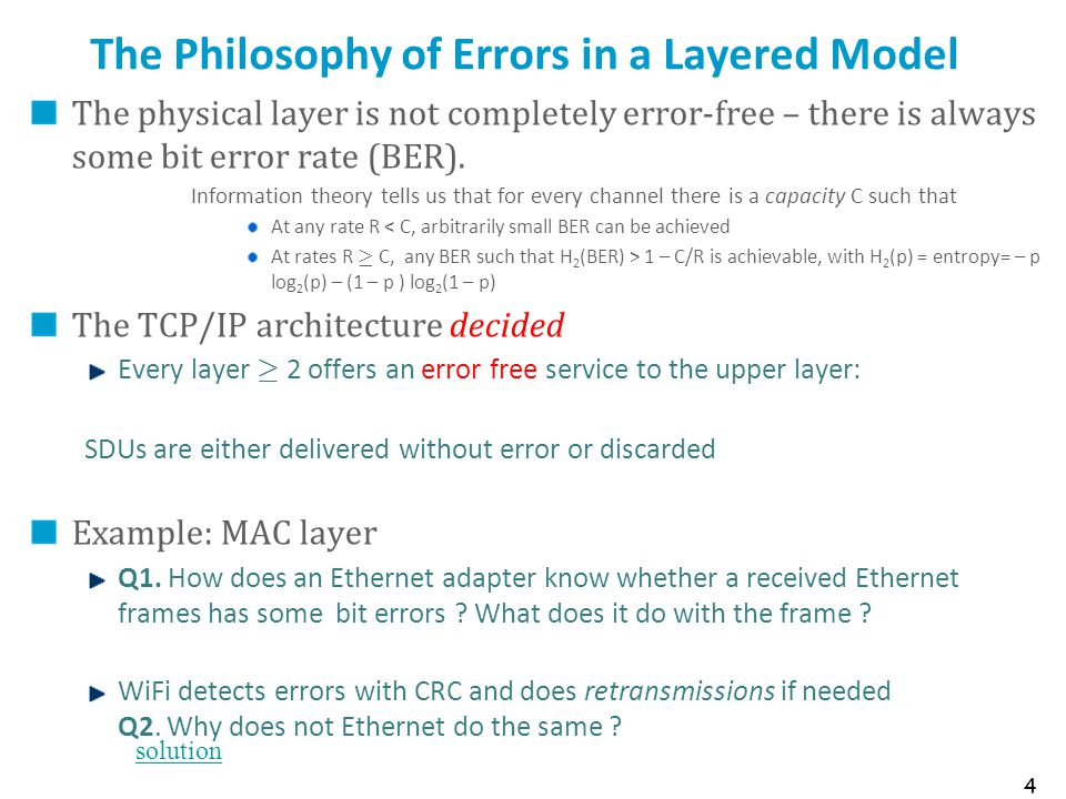 The Philosophy of Errors in a Layered Model