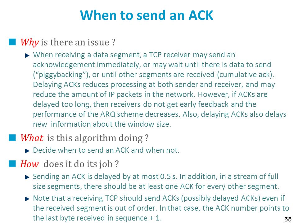 When to send an ACK Why is there an issue