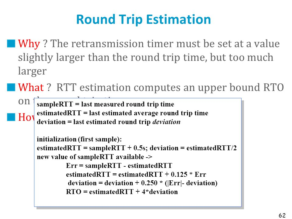 Round Trip Estimation Why The retransmission timer must be set at a value slightly larger than the round trip time, but too much larger.