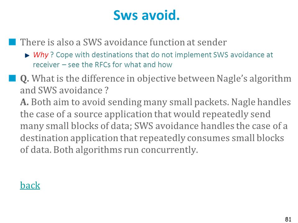 Sws avoid. There is also a SWS avoidance function at sender