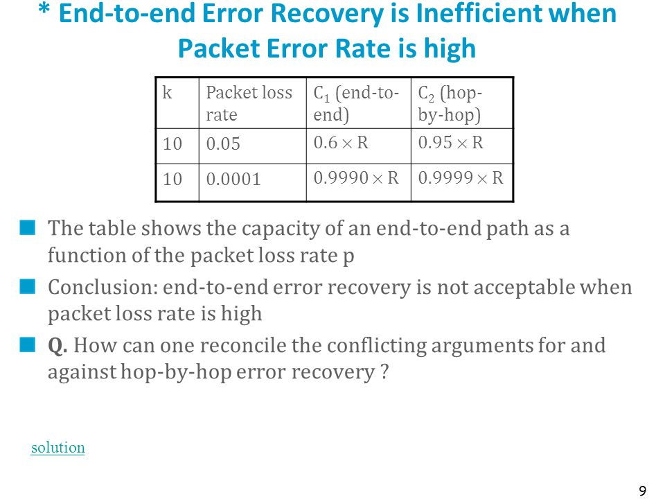 * End-to-end Error Recovery is Inefficient when Packet Error Rate is high