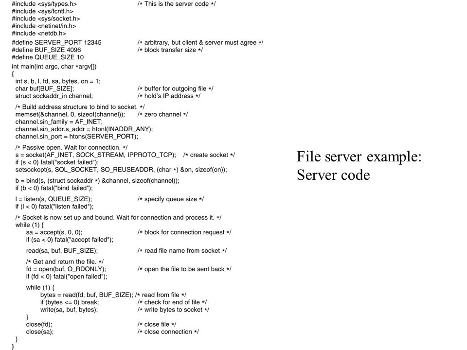 File server example: Server code